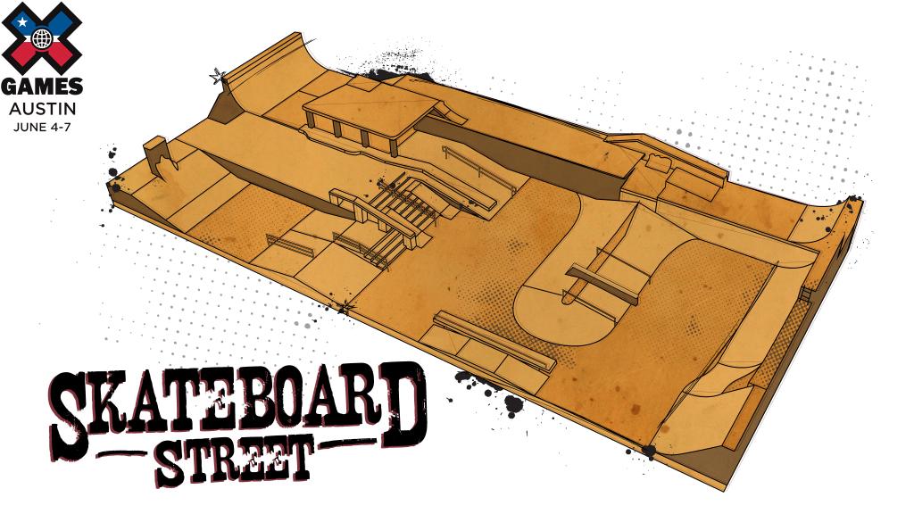 skateboard street rendering