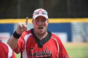 Los Angeles, CA - July 29, 2015 - Easton Stadium: Ryan Courtemanche of Canada participating in softball during the 2015 Special Olympics World Summer Games (Photo by Scott Clarke / ESPN Images)