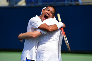 Los Angeles, CA - July 29, 2015 - Los Angeles Tennis Center: Gianluca Frezza and Riccardo Zonta of Italy participating in Tennis during the 2015 Special Olympics World Summer Games (Photo by Phil Ellsworth / ESPN Images)