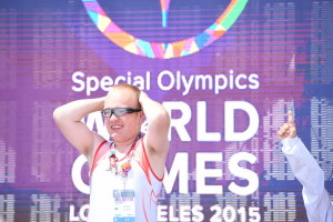 Los Angeles, CA - July 31, 2015 - John Wooden Center: Marek Moltko of Poland during the medal ceremony for gymnastics at the 2015 Special Olympics World Summer Games (Photo by Scott Clarke / ESPN Images)