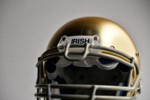 Bristol, CT - July 9, 2014 - Photo Studio: The University of Notre Dame Fighting Irish college football helmet (Photo by Rich Arden / ESPN Images)
