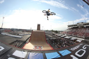 Los Angeles, CA - August 2, 2013 - Irwindale Speedway: Kevin Robinson during BMX Big Air Practice at X Games LA 2013 (Photo by Pete Demos / ESPN Images)
