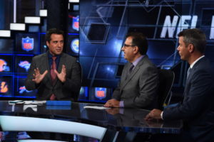 Bristol, CT - August 28, 2015 - Studio W: Dan Graziano, Adam Caplan and Mark Dominik on the set of NFL Insiders (Photo by Joe Faraoni / ESPN Images)