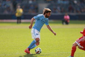 Bronx, NY - March 26, 2016 - Yankee Stadium: Andrea Pirlo (21) of the New York City Football Club during a regular season game (Photo by Allen Kee / ESPN Images)