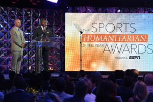 Los Angeles, CA - July 12, 2016 - Conga Room at L.A. Live: Sean McDonough and Troy Brown during The Sports Humanitarian Awards presented by ESPN (Photo by Eric Lars Bakke / ESPN Images)